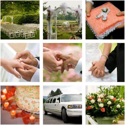 Wedding package, limos, jewellers, florists, celebrants