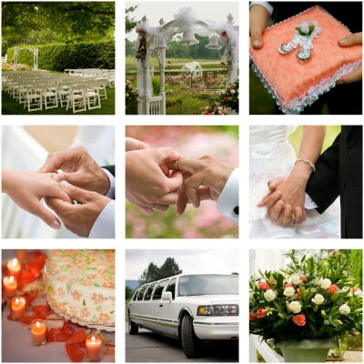 Wedding package, limos, jewellers, florists, celebrants