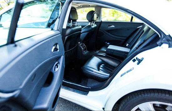 blue Mercedes interior