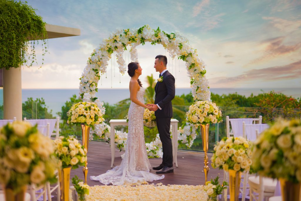 Top 5 bali wedding packages under aud 10k Rooftop Presidential wedding at Sheraton Marriott Kuta Bali Resort
