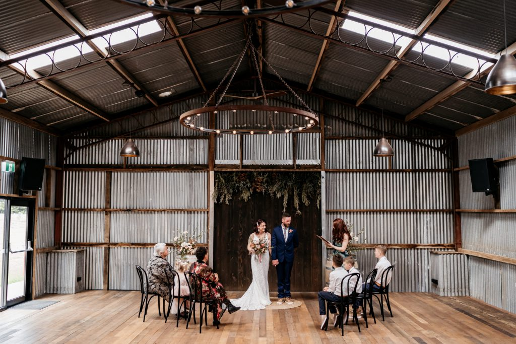 An intimate wedding with five guests at the in barn of Rocklea Farm