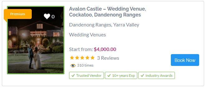 Avalon Castle Wedding Venue Dandenong Ranges