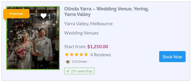 Olinda Yarra Wedding Venue Dandenong Ranges