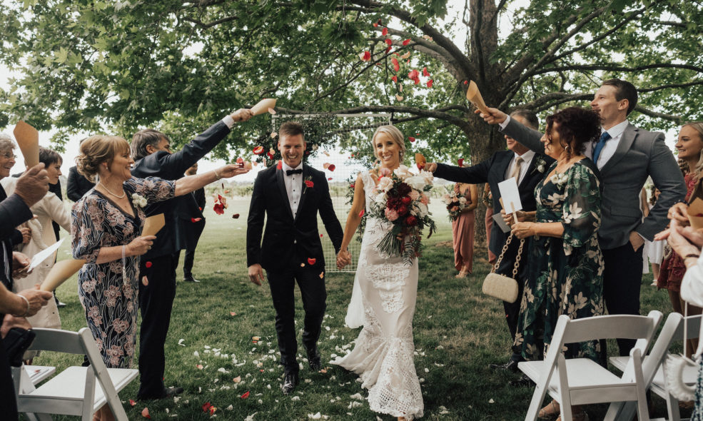 A flower shower under the oak trees of Brown Brothers Winery
