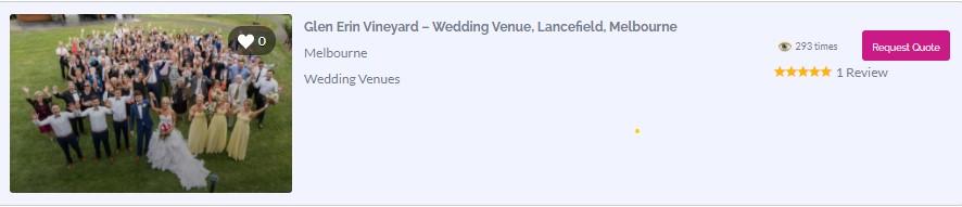 Rustic Wedding Package at Glen Erin at Lancefiled Vineyard Retreat