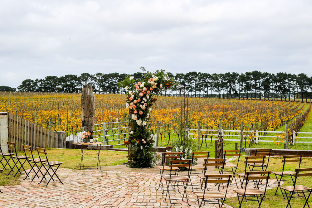 An arbour with the backdrop of Vineyards at Oneday Estate