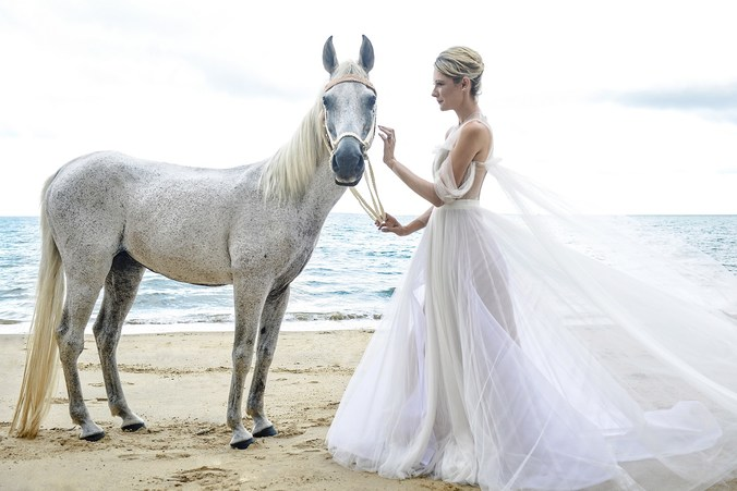 A bride is holding a white horse by the beach