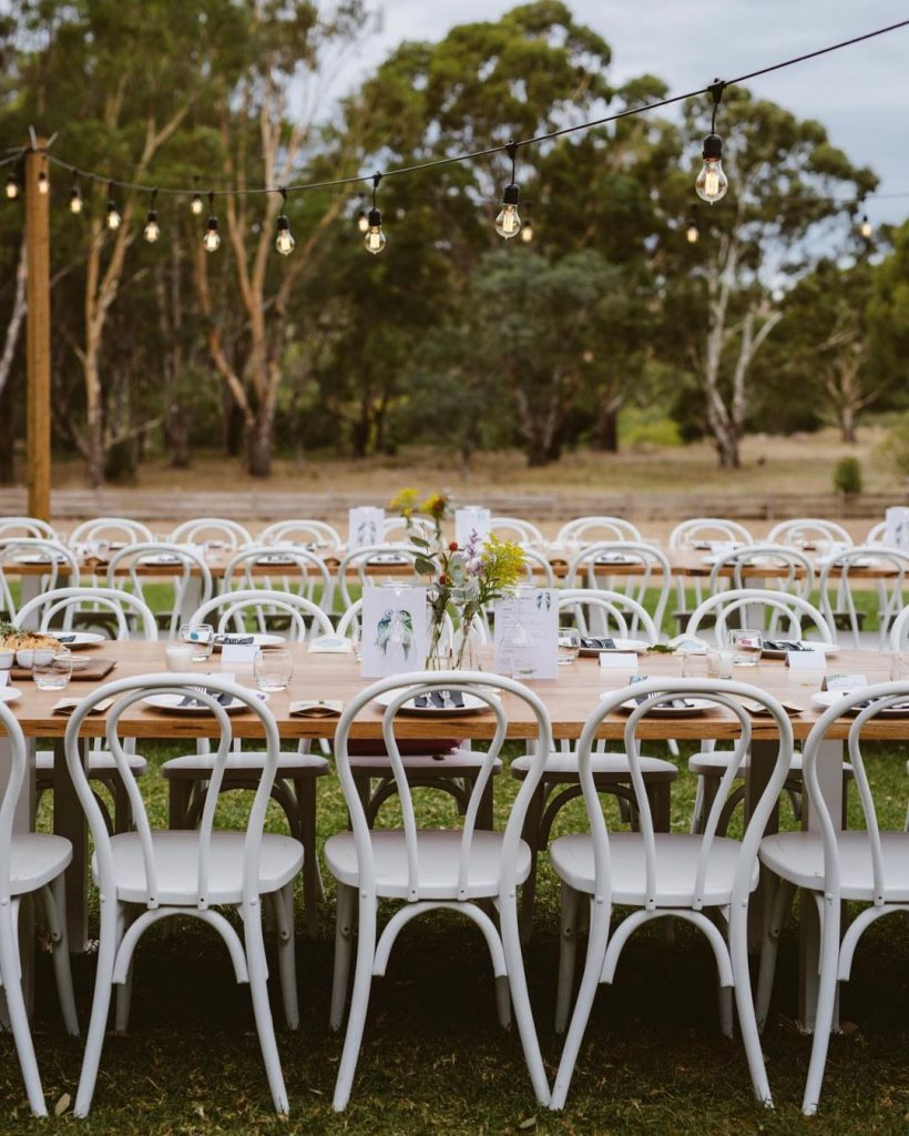 Rustic wedding set up on the garden of Emu Bottom Homestead