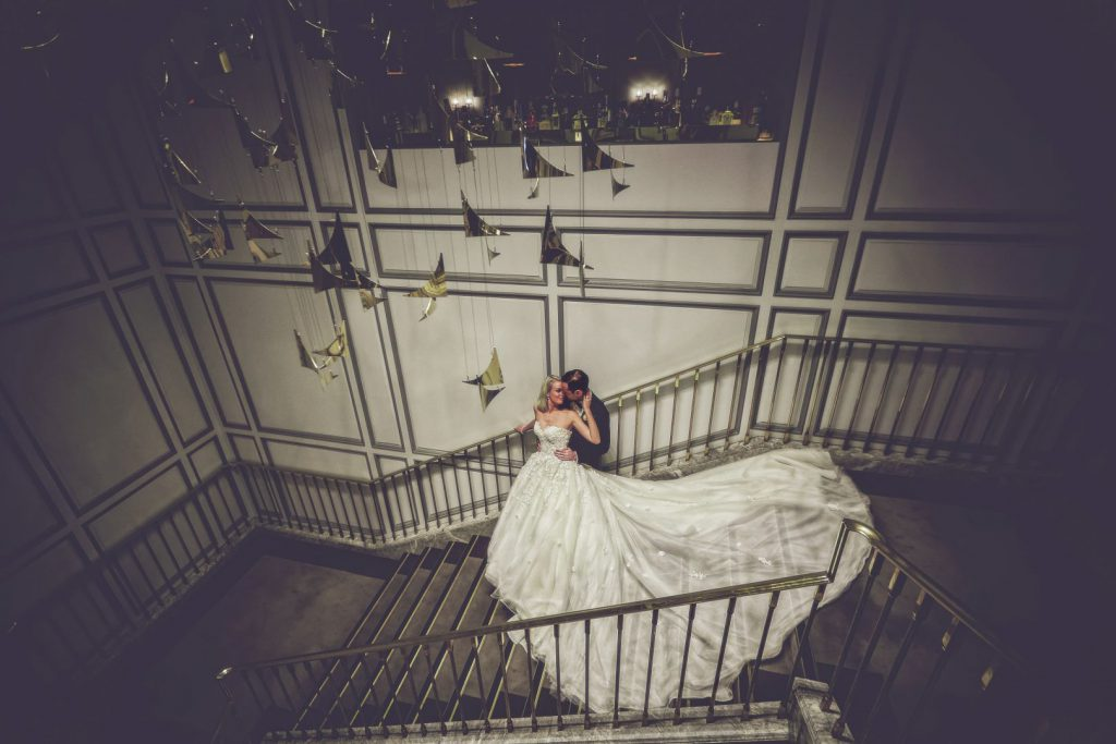 A wedding couple on the staircase of Intercontinental Sydney